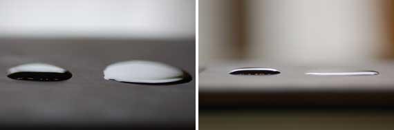 きれいみずと通常の水の表面張力の差(写真)
