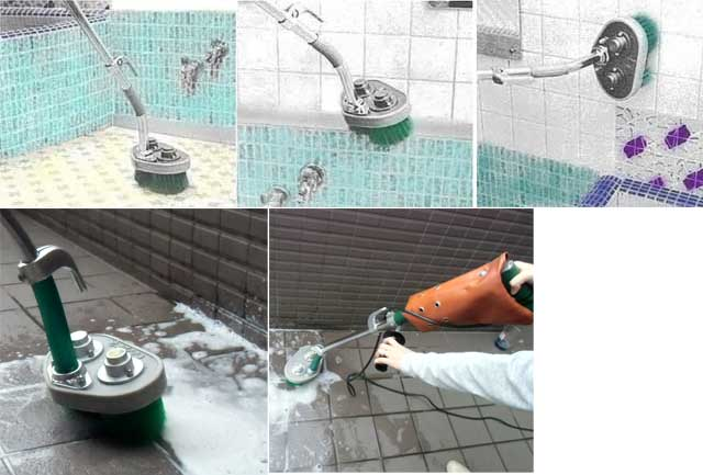 エタニ電動デッキブラシ洗浄現場写真